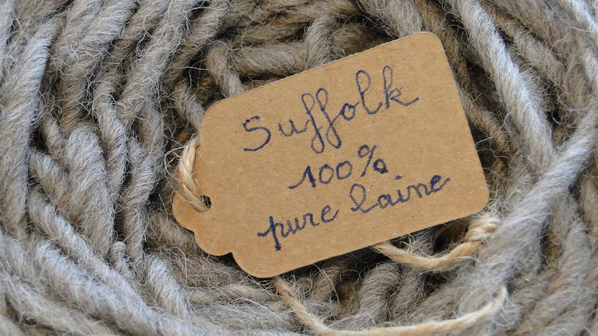 laine de Suffolk , grise,  filée main