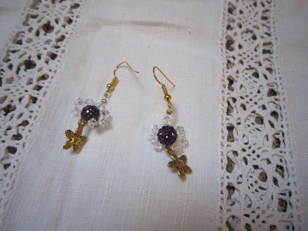 Boucles d'oreilles cristal, transparentes et prunes