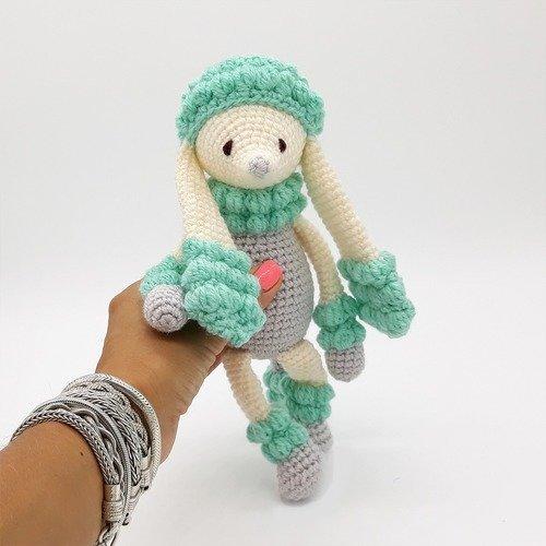 Doudou caniche au crochet bleu écologique | amigurumi chien | cadeau de naissance | cadeau bébé fille et garçon | caniche turquoise