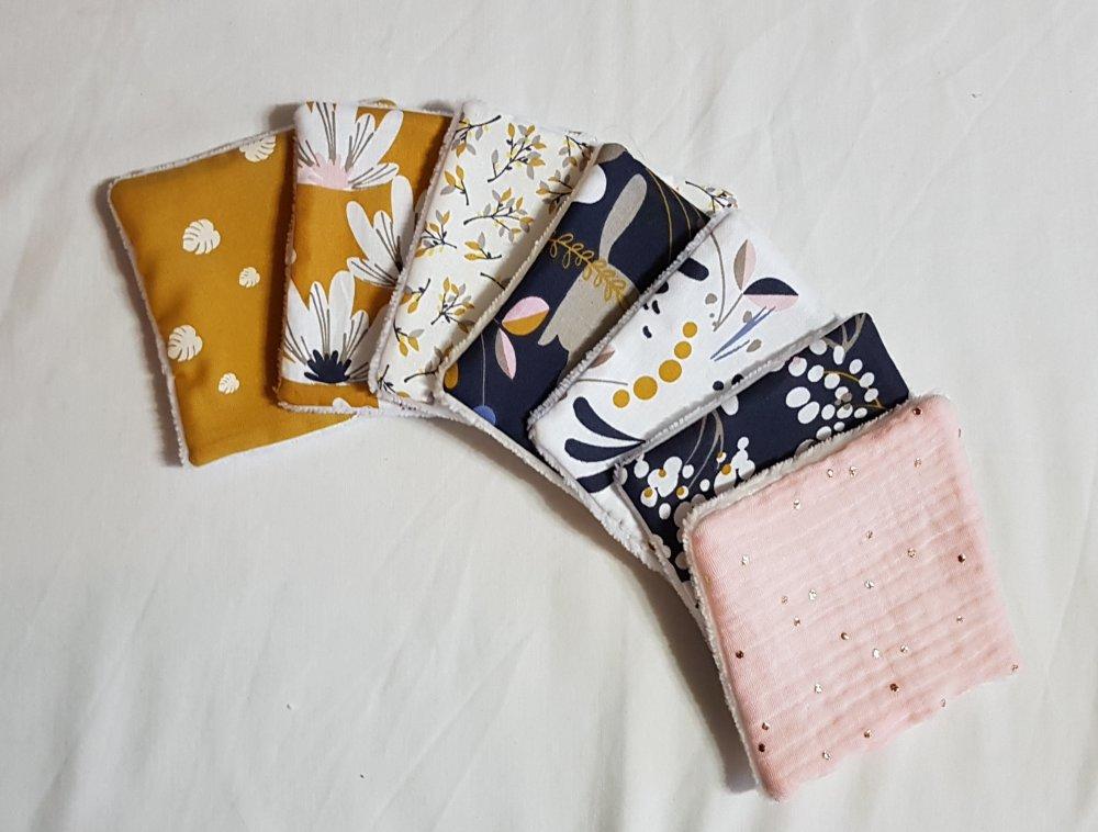 7 lingettes lavables en éponge de bambou et tissu