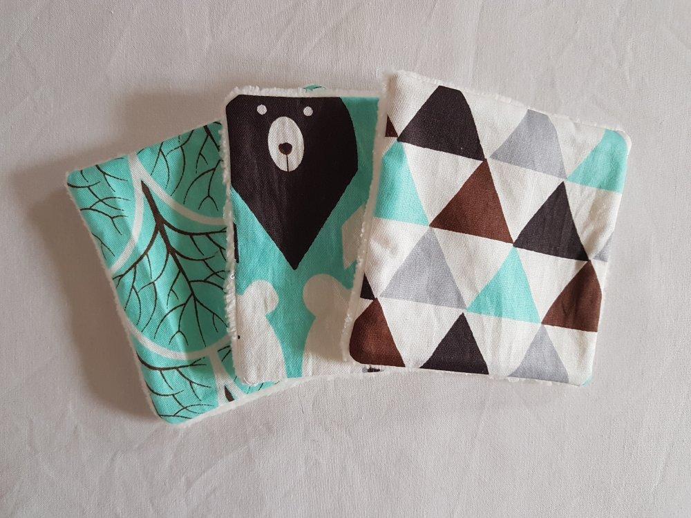 3 lingettes lavables en éponge de bambou et tissu