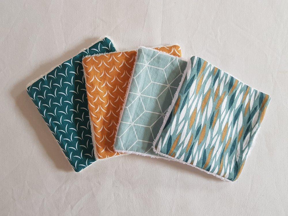 4 lingettes lavables en éponge de bambou et tissu