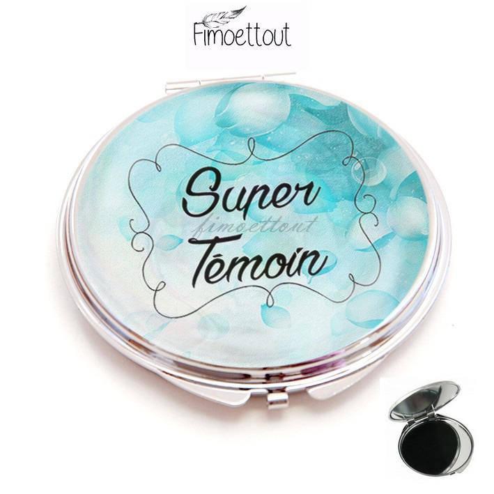 miroir de poche refermable , cabochon resine super témoin,pétale bleu