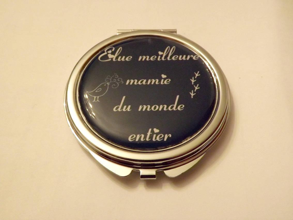miroir de poche 6 cm * cabochon résine 5cm * elue meilleure mamie du monde entier