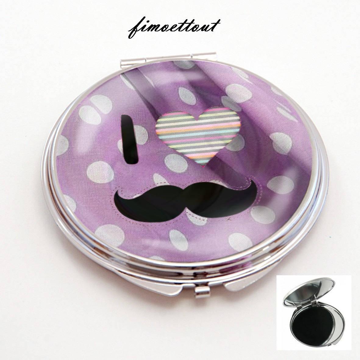 miroir de poche ,sac cabochon resine,i love moustache