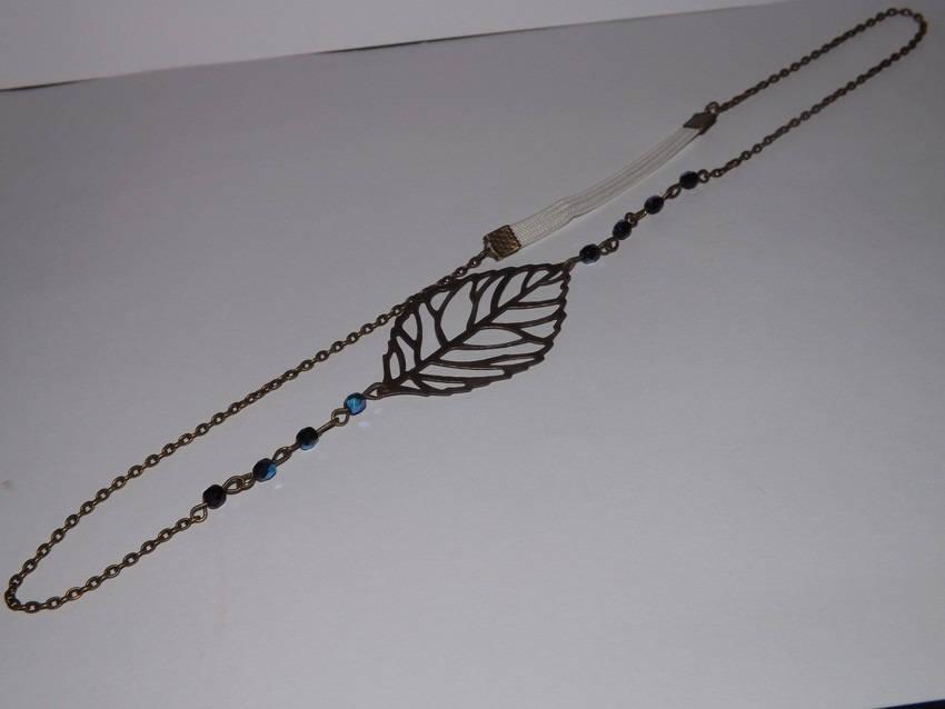 jolie HEADBAND bijoux de cheveux, accessoire vintage, romantique, feuille , perle en verre noir à reflet