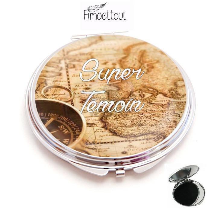 miroir de poche refermable , cabochon resine super témoin voyage