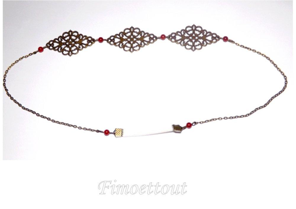 HEADBAND vintage, romantique,chic,estampe baroque boheme perle jade rouge