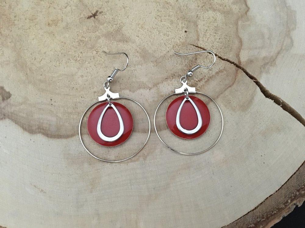 Boucles  d'oreilles créoles rouges
