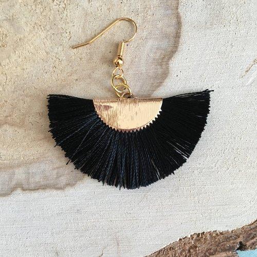 Boucles d'oreilles plumeau noir