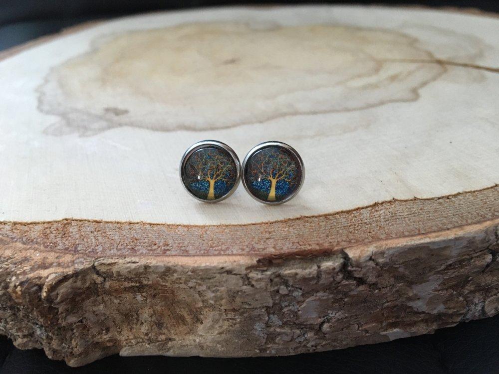 Boucles d'oreilles puces arbre de vie