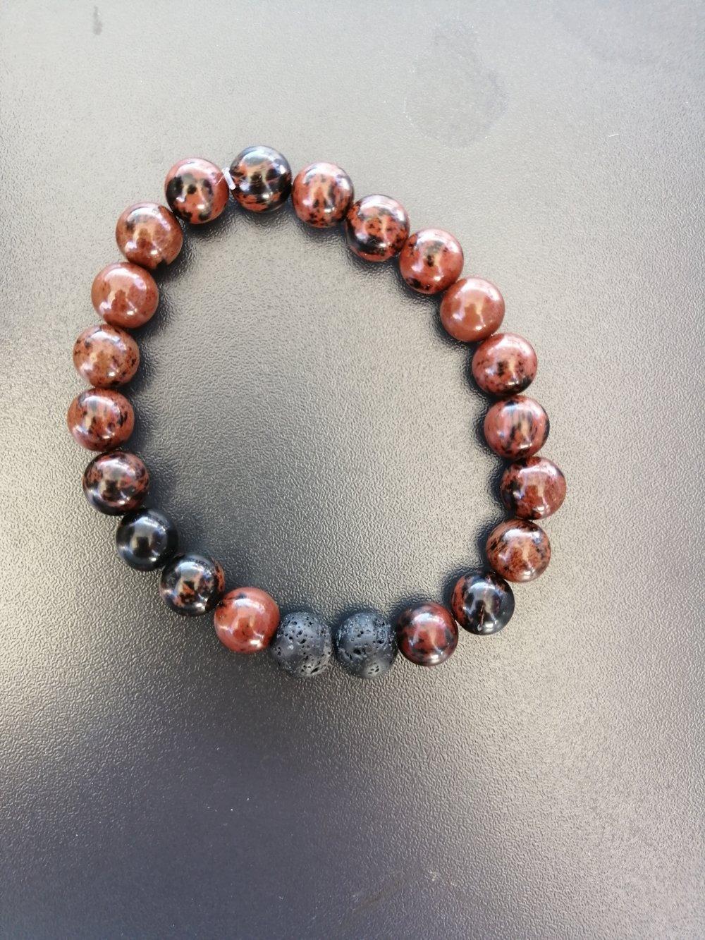Bracelet Jaspe rouge et pierre de lave