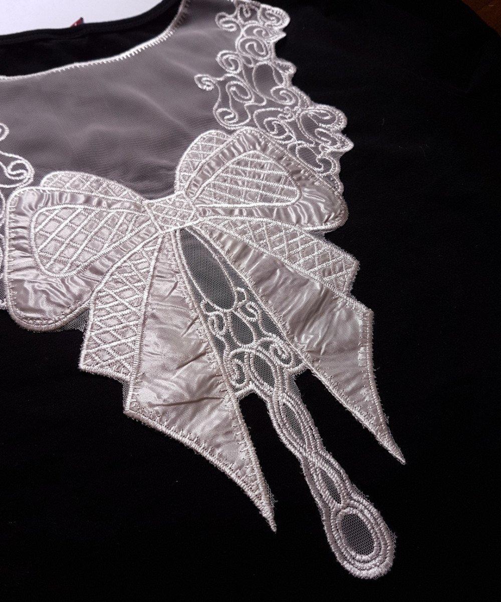 Applique dentelle à coudre couture blanc  grande noeud papillon ,broderie sur tulle