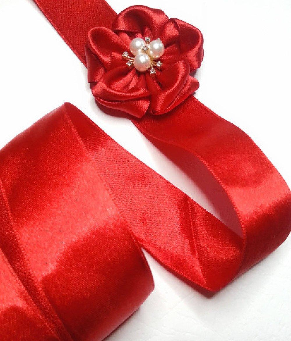 x5m ruban satin rouge double face 32mm bonne qualité