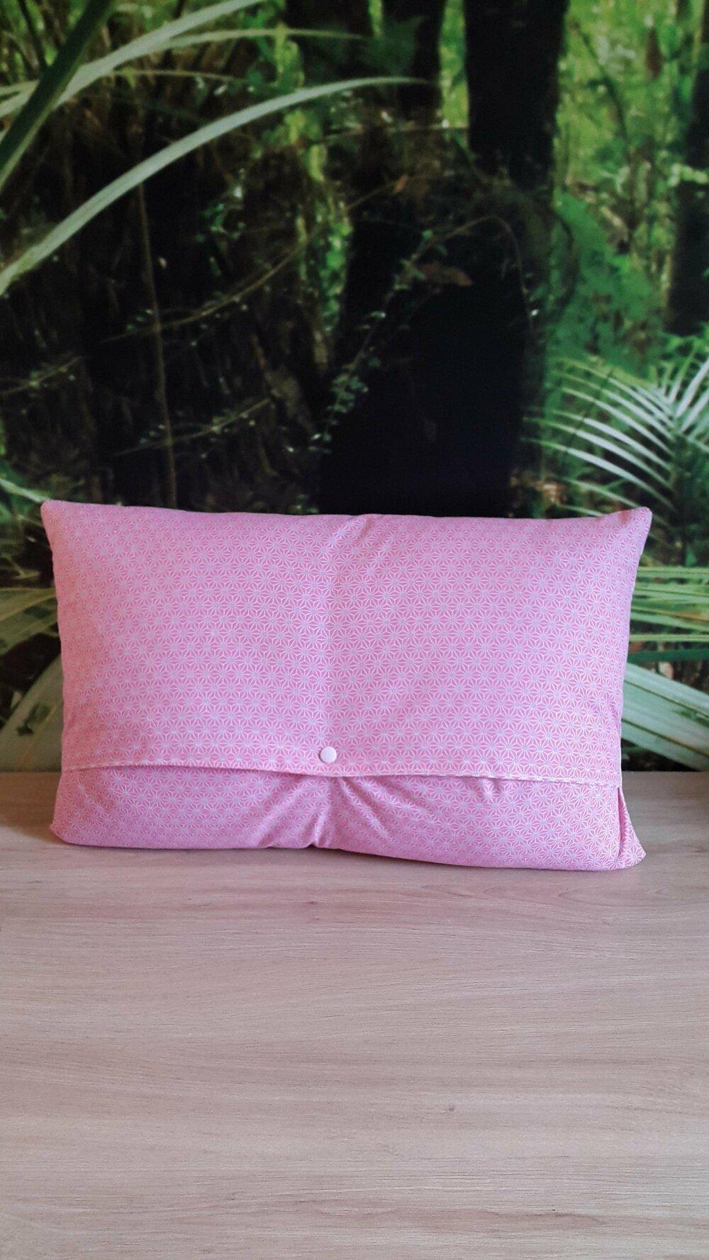 Housse de coussin Flamant rose - 30 x 50 cm - décoration tropicale et tendance - Collection été - coton