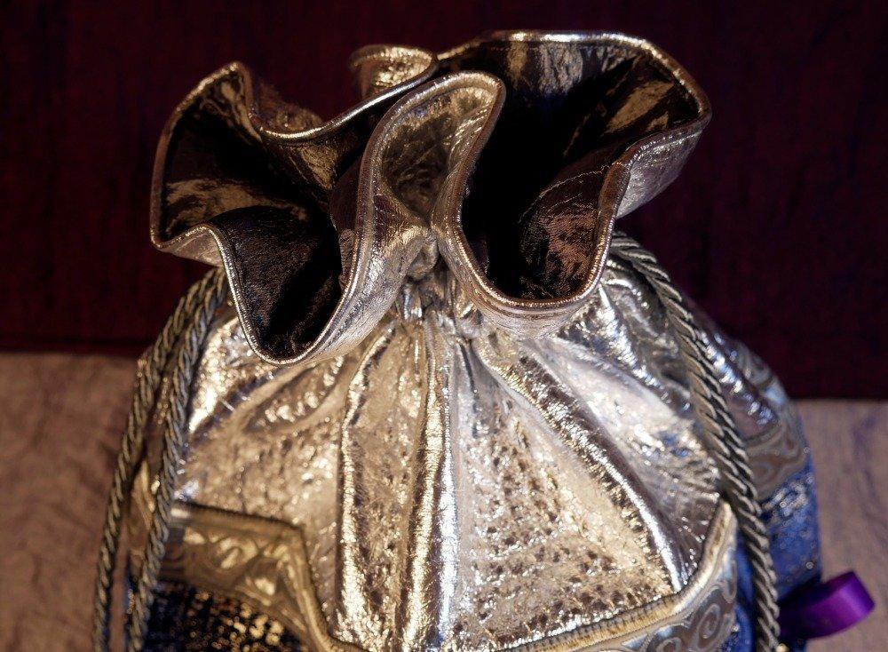 Pochon sac bourse bleu argenté fourrure