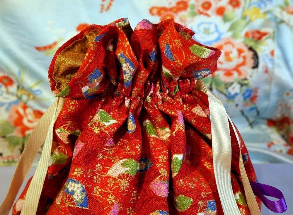 Sac bourse rouge - tissu japonais