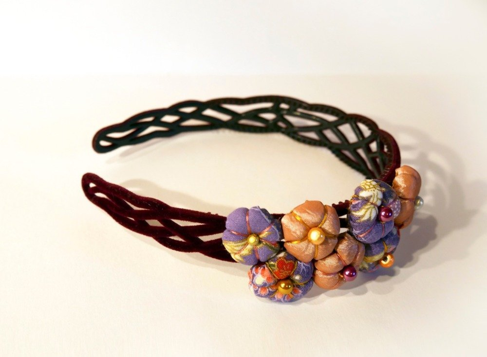 Serre-tête headband fleurs - violet rose - Tsumami Kanzashi