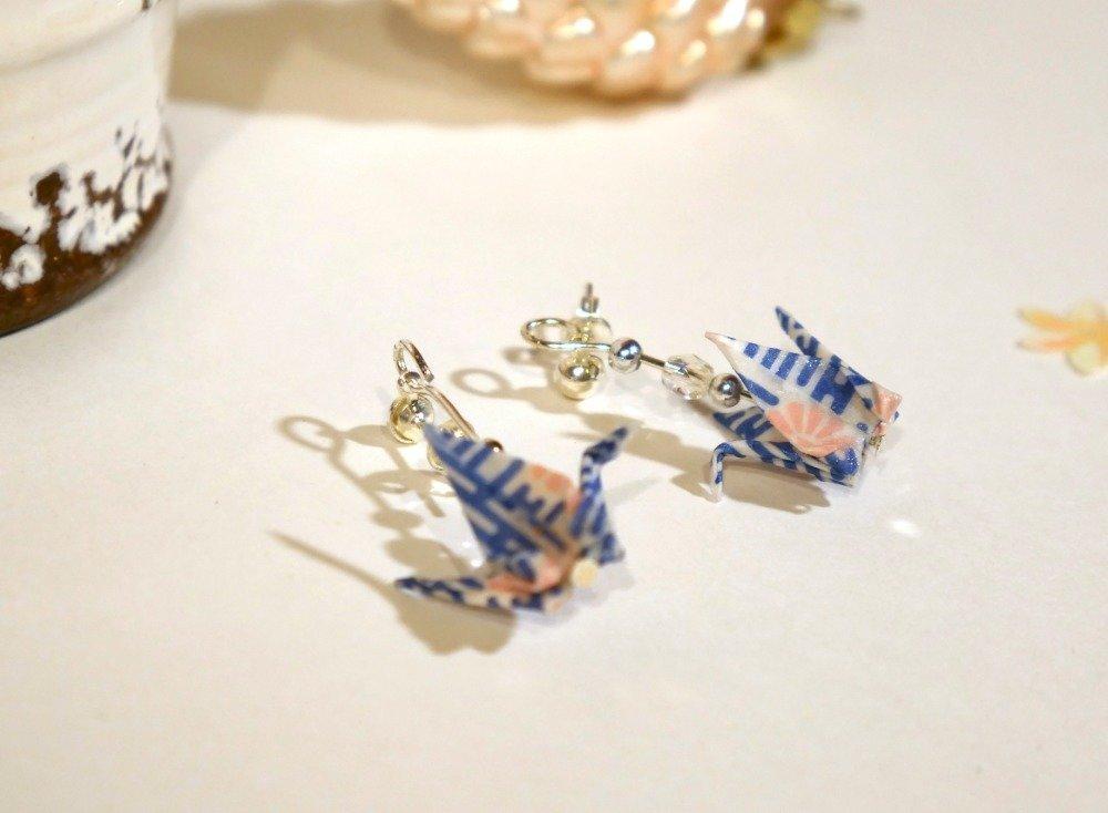 Boucles d'oreilles origami - grue bleu et rose