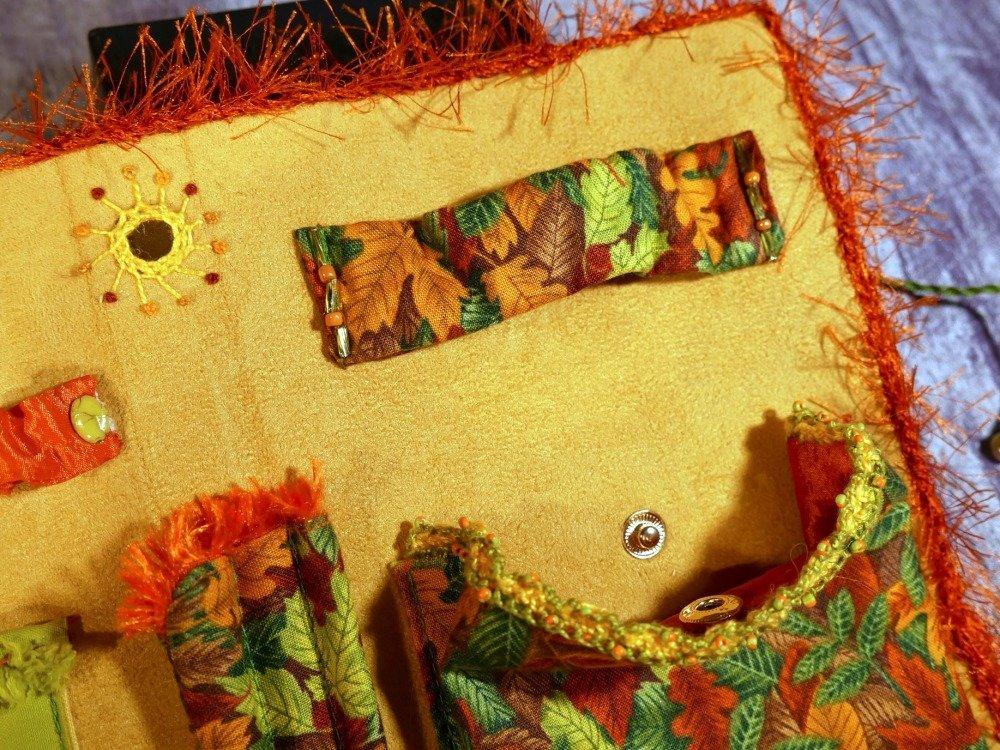 Accessoire mercerie, carnet à ouvrage, rangement broderie style forêt