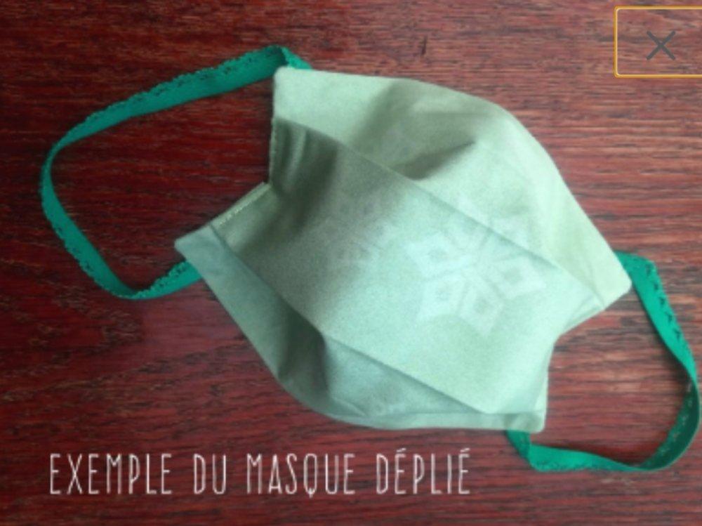 Lot de 3 Masques barrière, élastique dentelle couleur, masques de protection. Taille adulte.