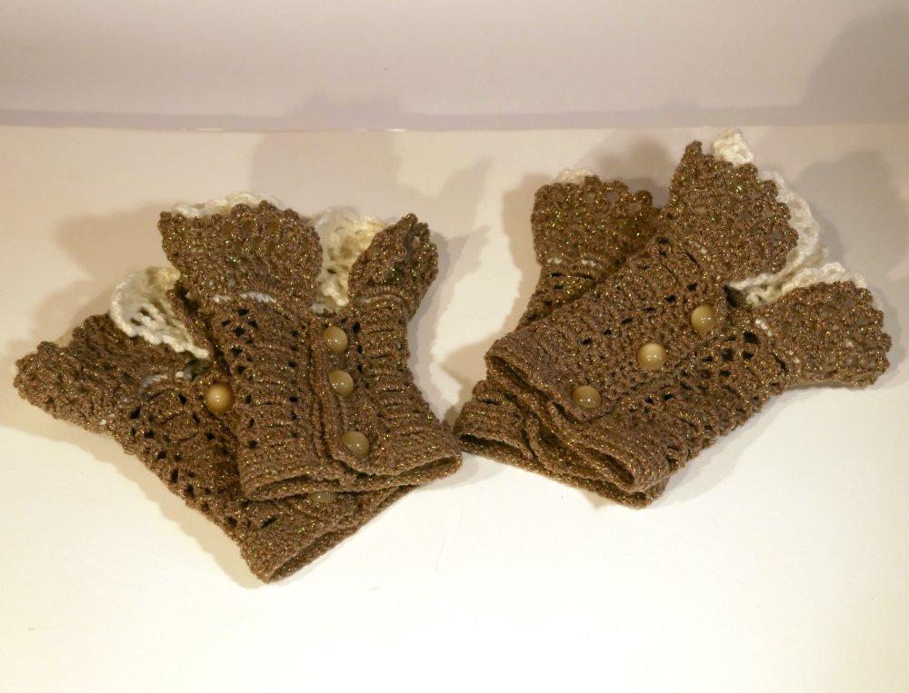Manchette mitaine gant fingerless cuffs en laine marron ecru