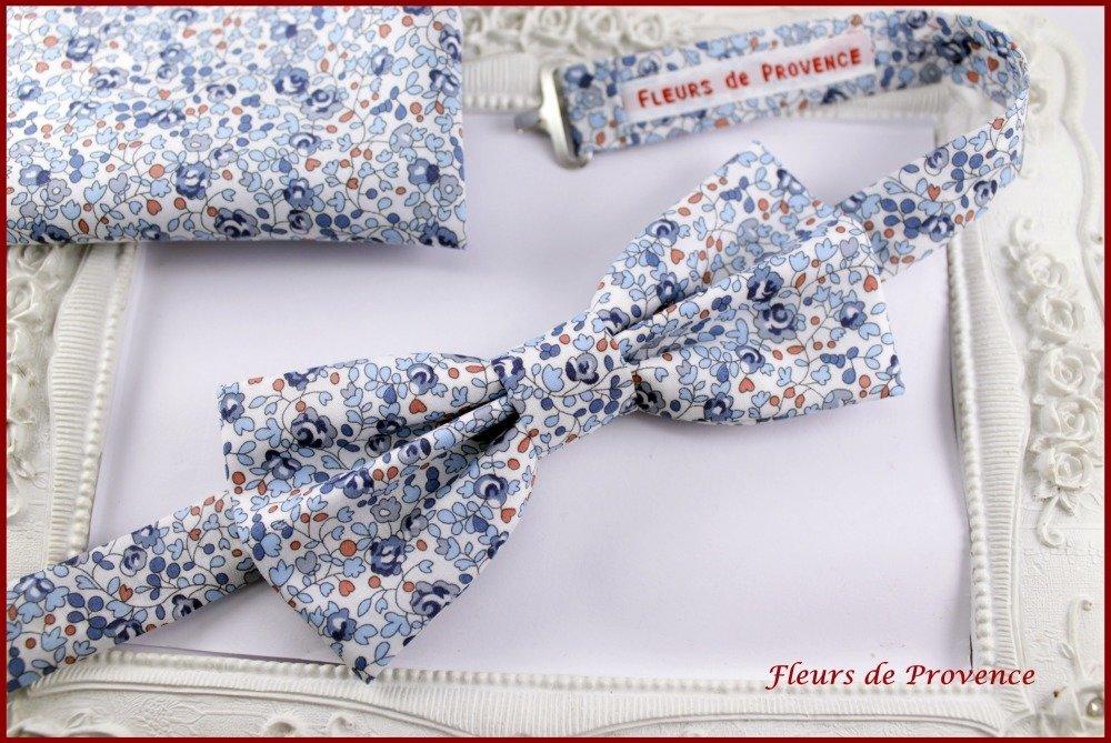Pochette Costume élégant Tissu Liberty Eloise bleu et blanc