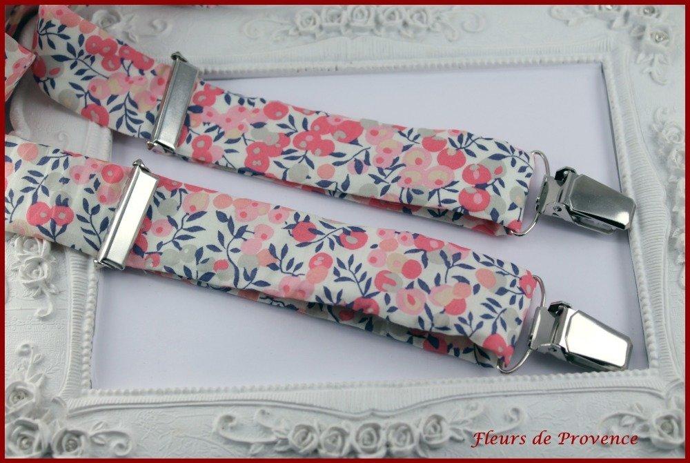 SET Tissu Liberty Wiltshire pois de senteur: Bretelles, Noeud Papillon double , Pochette costume et Boutons de manchette Homme