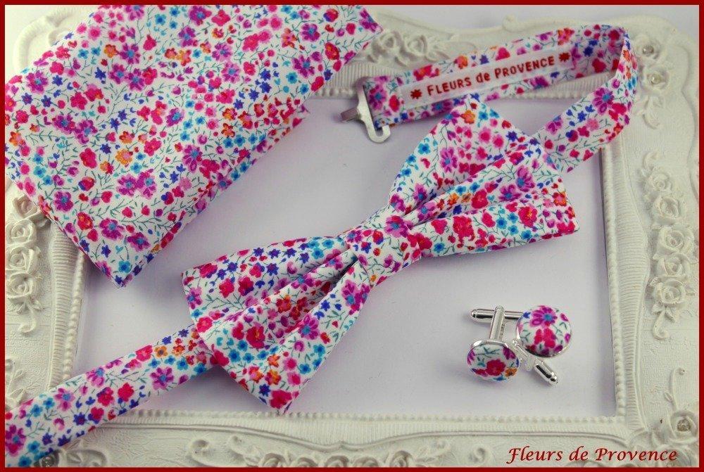 Set Noeud Papillon, Boutons de manchette et Pochette costume Tissu Liberty Phoebe rose et bleu - Homme