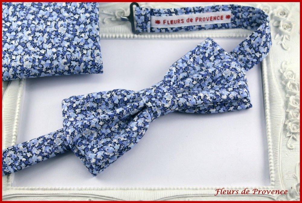 Set Noeud Papillon Double, Boutons de manchette et Pochette costume assortie Tissu Liberty Pepper bleu - Homme