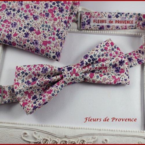 Set noeud papillon et pochette costume assortie tissu liberty phoebe violet - homme