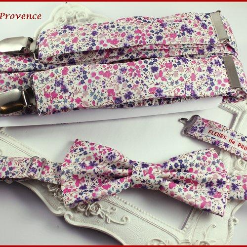 Set tissu liberty phoebe violet: bretelles, noeud papillon , pochette costume et boutons de manchette homm