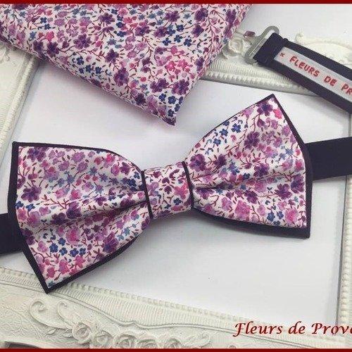 Set noeud papillon double et pochette costume assortie tissu liberty phoebe violet - homme