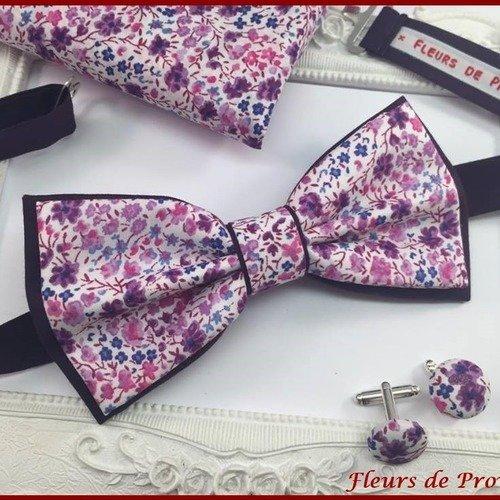 Set noeud papillon double, boutons de manchette et pochette costume assortie tissu liberty phoebe violet