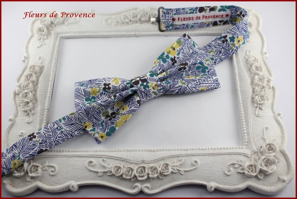 Noeud Papillon Tissu Liberty blanc, bleu et jaune - Homme