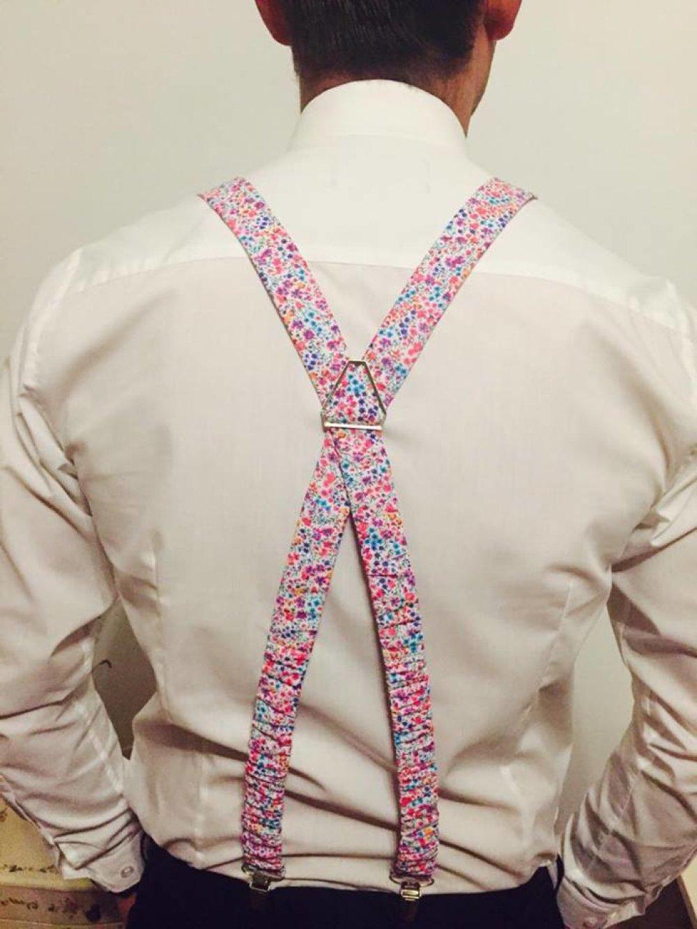Set Noeud Papillon Double, Boutons de manchette et Pochette costume assortie Tissu Liberty Phoebe rose et bleu - Homme