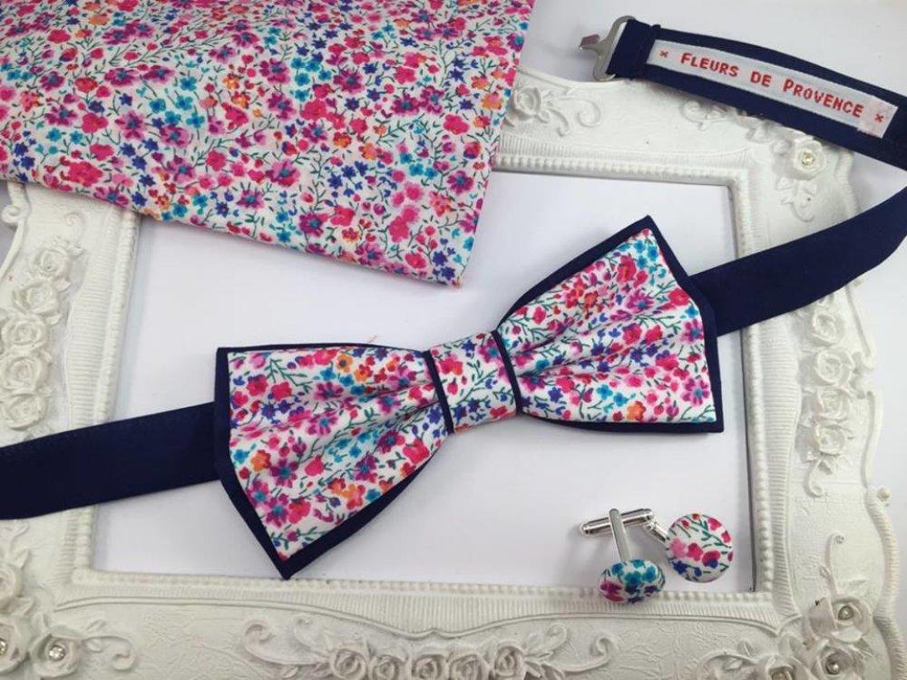 Noeud Papillon double Tissu Liberty Phoebe rose et bleu - Homme