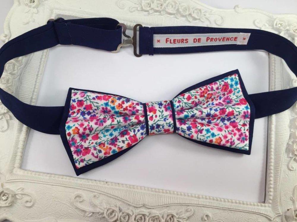 Set Noeud Papillon double et Pochette costume assortie Tissu Liberty Phoebe rose et bleu - Homme