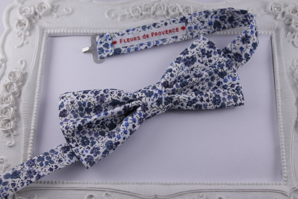 LOT Noeud Papillon et bretelles homme + enfant et bandeaux Tissu Liberty Phoebe bleu