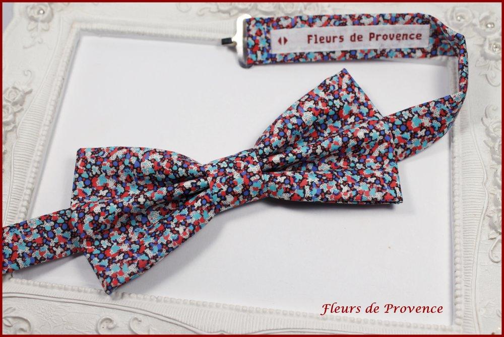 Set Noeud Papillon et Pochette costume assortie Tissu Liberty Pepper blue et rouge - Homme