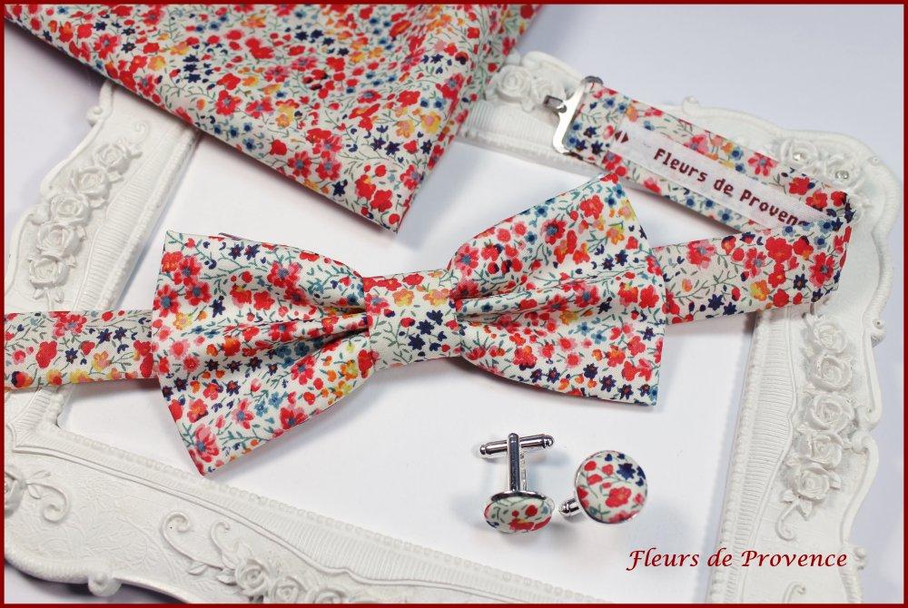 Noeud Papillon Tissu Liberty Phoebe pepsi rouge - Enfant