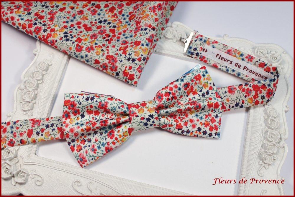 Noeud Papillon Tissu Liberty Phoebe pepsi rouge - Bébé