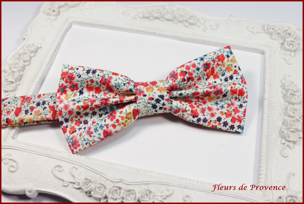 Set Noeud Papillon, Boutons de manchette et Pochette costume Tissu Liberty Phoebe pepsi rouge - Homme