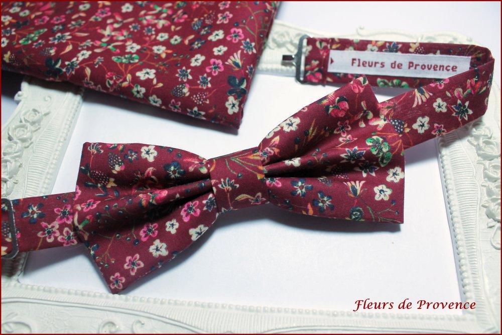 Noeud Papillon Tissu Liberty Donna leigh Bordeaux - Enfant