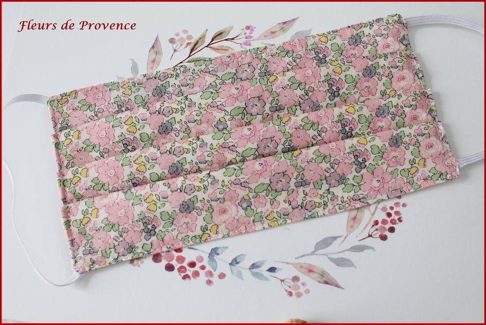 Masque de protection Tissu Liberty Betsy Ann rose, lavable, réutilisable, tissu coton, réversible - adulte