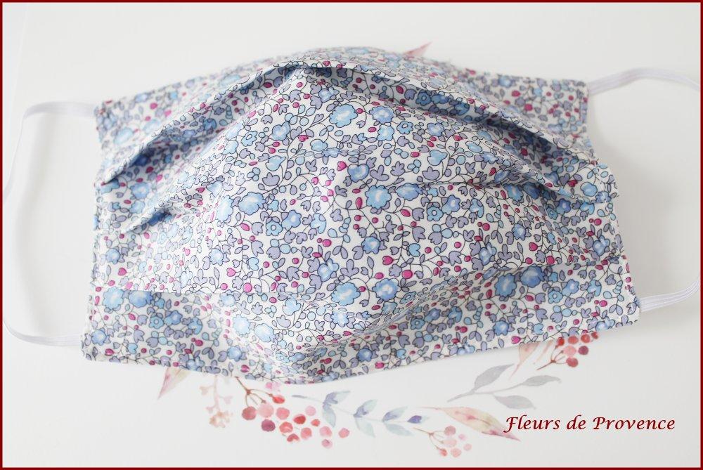 Masque de protection Tissu Liberty Eloise bleu, lavable, réutilisable, tissu coton, réversible - adulte