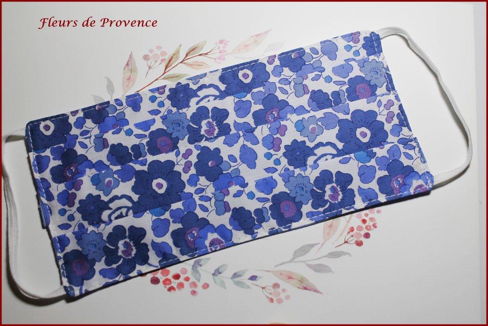 Masque de protection Tissu Liberty Betsy bleu lavande, lavable, réutilisable, tissu coton, réversible
