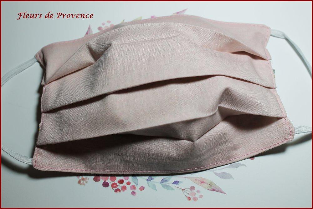 Masque de protection Tissu Liberty Feather Fields vieux Rose, lavable, réutilisable, tissu coton, réversible