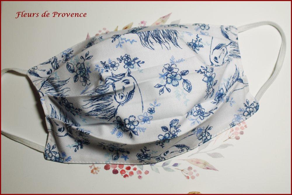 Masque de protection Tissu cheval bleu , lavable, réutilisable, tissu coton, réversible - Enfant
