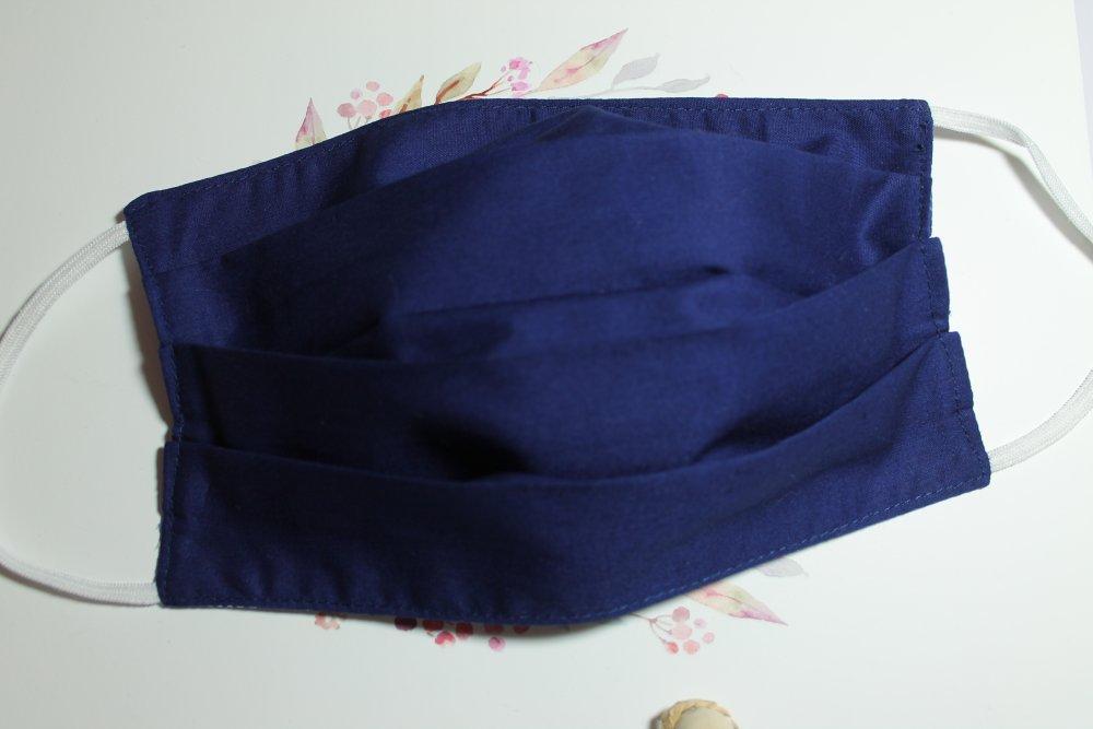 Masque de protection Tissu style japonais bleu foncé, double face, lavable, réutilisable, tissu coton, réversible